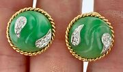 Beautiful 18kt Yellow Gold And Green Jade Earrings Diamond Accent Omega Back+post