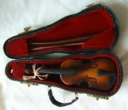 Small Collectible Miniature Violin Authentic In Case With Bow 5