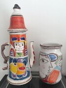 Desimone Italy Picassoesque Hand- Painted Pitcher/ Coffee Tea Pot And Vase