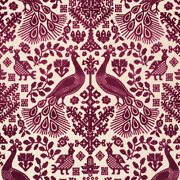 Exotic And Ethnic Chic Pavone Cut Velvet Upholstery Fabric 5yards Garnet Red