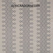 African Inspired Kuba Motif Embroidered Upholstery Fabric 3 Yards Neutral Grey