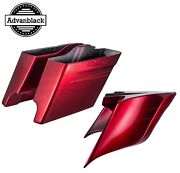 Velocity Red Sunglo Stretched Saddlebag Side Covers Pinstripe For Harley 2014+