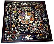 24 Inches Marble Patio Coffee Table Stone Center Table Top With Marquetry Art