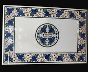 24 X 36 Inches Marble Dinning Table Sofa Table Top Lapis Lazuli Stone Inlaid
