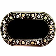36 X 48 Inches Marble Center Table Top Inlay Dinning Table With Floral Design