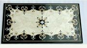 30 X 60 Inches Marble Reception Table Conference Table Top With Marquetry Art