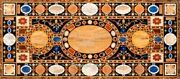 30 X 72 Inches Marble Restaurant Table Top Inlay Sofa Table With Marquetry Art