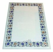36 X 60 Inches Marble Dining Table Top White Sofa Table With Pietra Dura Art