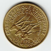 Equatorial African States 25 Francs 1970 Km4a Al-ni-br Key Date Rare This Nice