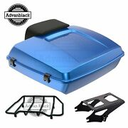 Advanblack Electric Blue Razor Tour Pack Trunk Luggage Fit Harley Touring 97-20