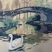 Vintage Sunset Designs Wool Crewel Embroidery A Time To Reflect 2453 Swans New