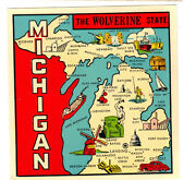 Original Vintage Travel Decal Michigan State Map Wolverine Great Lake Old Auto