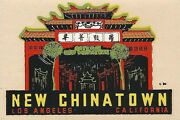 Original Vintage Travel Decal New Chinatown Los Agneles Ca Auto Trailer Old Rv