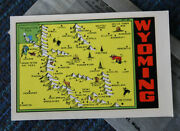 Vintage Travel Water Decal Wyoming Map Rv Trailer Auto Car Luggage Old Hot Rod