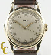 14k Yellow Gold Vintage Ebel Hand-winding Watch Brown Leather Band Round Dial
