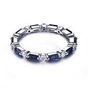 1ct Full Cut Natural Diamonds Andsapphires Sterling Silver Unique Engagement Ring