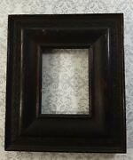 Antique Dark Mahogany Wood Decorative Inlay Picture Frame No Glass