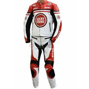 Lucky Strike Classic Yellow Red White Black Motorcycle Leather Jacket 2 Pc Suit