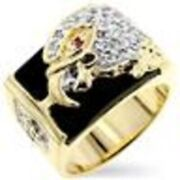 Beautiful Eagle Head In Unique Menand039s Ring Aaa Czand039s 18kt Gold Ep