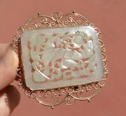 1900and039s Chinese Jade Carved Carving Figure Plaque 14k Gold Pendant Brooch Pin Mk