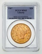 1907 20 Gold Liberty Double Eagle Graded By Pcgs As Ms-63