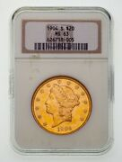 1904-s 20 Gold Liberty Double Eagle Graded By Ngc As Ms-63