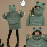 Give My Princess A Kiss Letter Embroidery Frog Zipper Pocket Oversized Hoodie