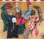 Vintage Antique Wooden Hand Carved Puppets 10 Early 1900s Folk Art Punch And Judy