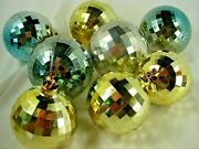 Vintage 1950s Hard Plastic Ornaments By Bradford Faceted Gold And Silver Gp Of 8