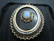 B817 Beautiful 14kt Yellow Gold Opal Onyx And Seed Pearl Pendant Brooch