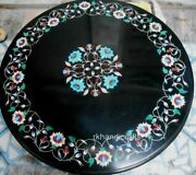 Black Marble Coffee Table Top Heritage Art Lawn Table Multi Color Gemstone Inlay