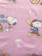 Vintage Snoopy Charly Brown Woody Cotton Fabric.pink Color.great Quality. Bty