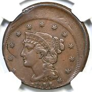1844 Ngc Xf Details Off Center Braided Hair Large Cent Coin 1c