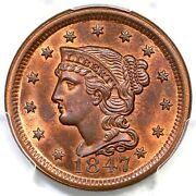 1847 N-3 R-3 Pcgs Ms 64+ Rb Braided Hair Large Cent Coin 1c
