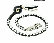 Motorcycle Get Back Whip Black And White Leather W/ Pool Ball 8. Fits Most Harley.