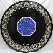 Black Marble Table Top Abalone Shell Inlay Work Dinning Table With Floral Design