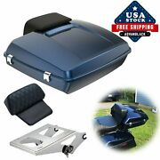 Big Blue Pearl Razor Tour Pack Trunk Luggage Backrest For 1997+ Harley Touring