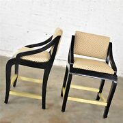 Vintage Modern Black Painted Brass And Upholstered Counter Height Bar Stools A Pa