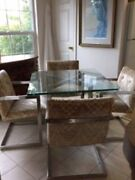 Fabulous 36andrdquo Square Vintage Chrome And Glass Dining Set W/4 Upholstered Chairs