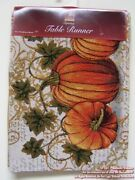 New Fall Autumn Pumpkin Table Buffet Tapestry Runner 13 X 72 Thanksgiving