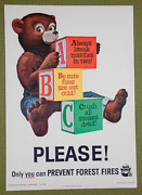 Vintage 1963 Smokey Bear A-b-c Pleaseonly You Can Prevent Forest Fires Poster