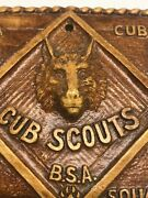Vintage-cub Scout Wall Plaque-a Cub Is Square-wolf-bear-webelo-arrow Of Lightg