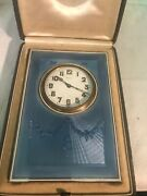 Antique Sterling Silver And Guilloche Enamel Travel Alarm In Fitted Case