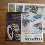 Lot Of 5 Double Page Tire Ads - Vtg Craft Supplies Junk Journal