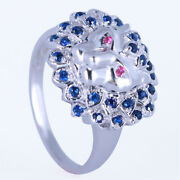Leopard Solid 14k White Gold Rubies Sapphires Cool Male Costume Engagement Ring