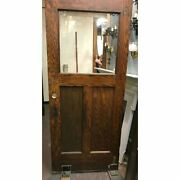 Antique Architectural Salvaged Oak Exterior Door With Cylinder Glass