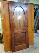 Antique Architectural Salvaged Victorian Front Entry Door Oval Beveled Glass