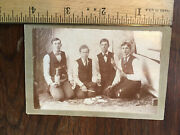 Unique Cabinet Photo Young Men W/pistol And Whiskey Bottle-dagger-playing Cards Ky