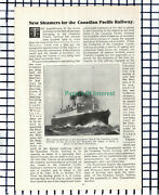 C5315 Canadian Pacific Railway New Steamers Missanabie Metagama - 1914 Article