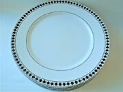 Casual Images By Lenox Diamond Ring Dinner Plates Set Of 4 White With Rim Vtg